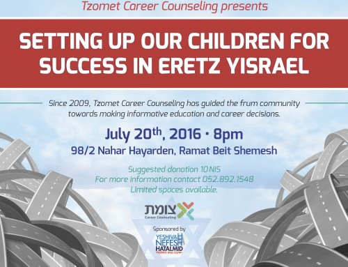Setting up our Children for SUCCESS in Eretz Yisrael